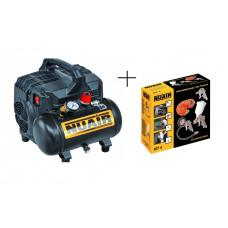 Compressor 6L Silencioso de Pistão + KIT DE 4 PEÇAS - PISTOLAS NUAIR
